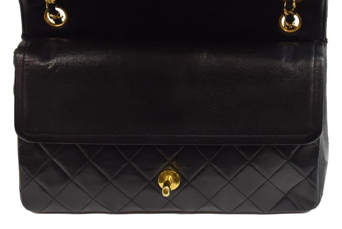 CHANEL QUILTED BLACK CLASSIC MED. DOUBLE FLAP BAG - 2