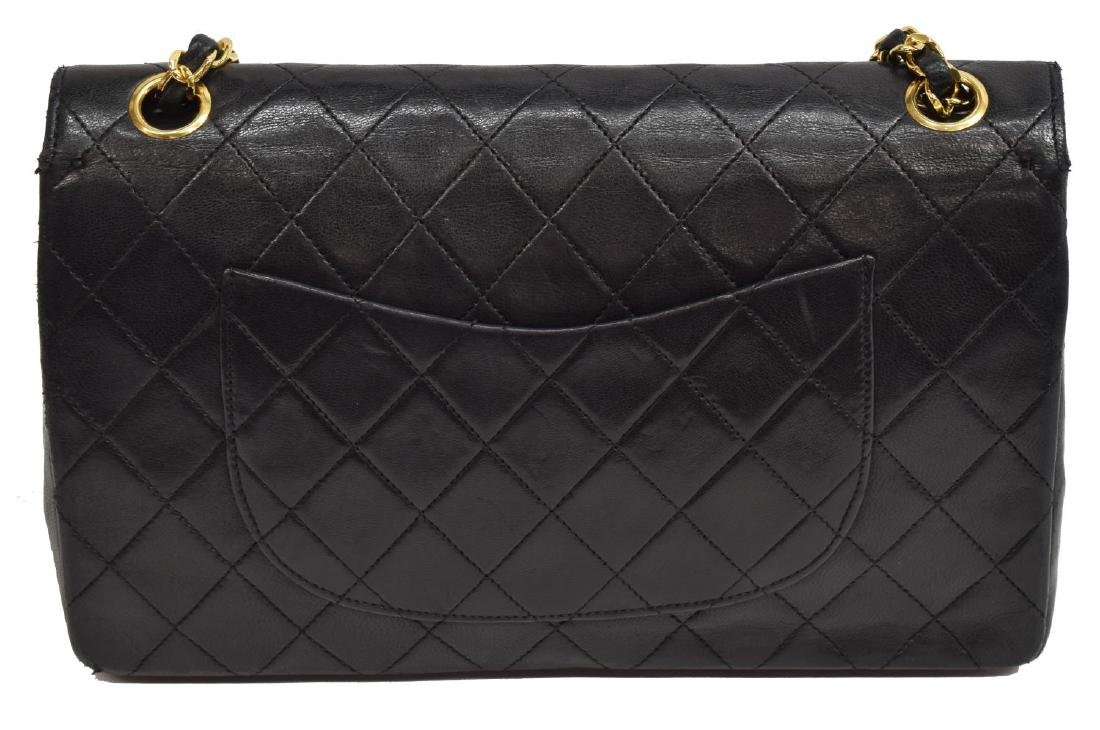 CHANEL QUILTED BLACK CLASSIC MED. DOUBLE FLAP BAG - 4