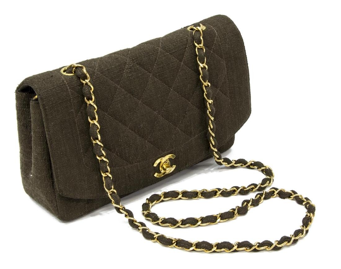 CHANEL 'CLASSIC FLAP BAG' IN QUILTED BROWN TEXTILE