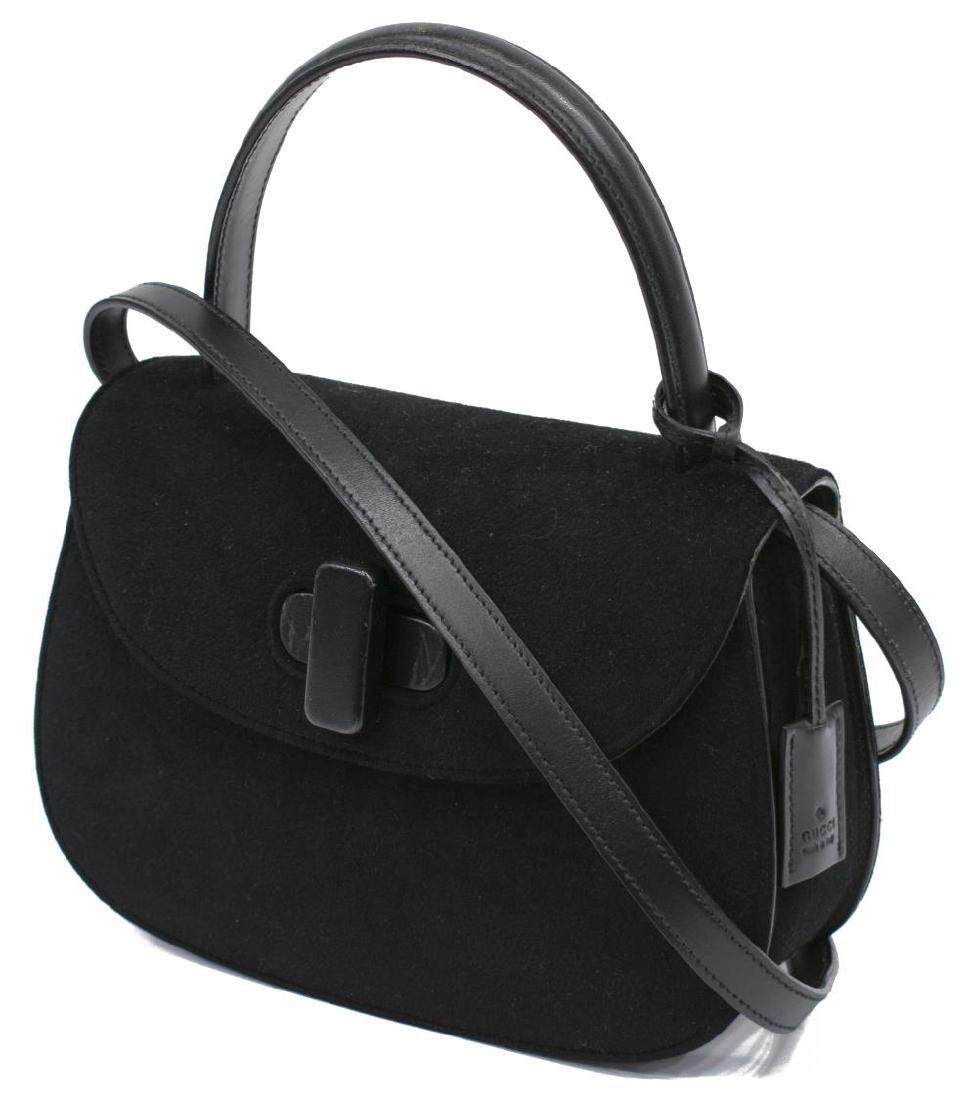 GUCCI BLACK FELT & LEATHER SHOULDER BAG