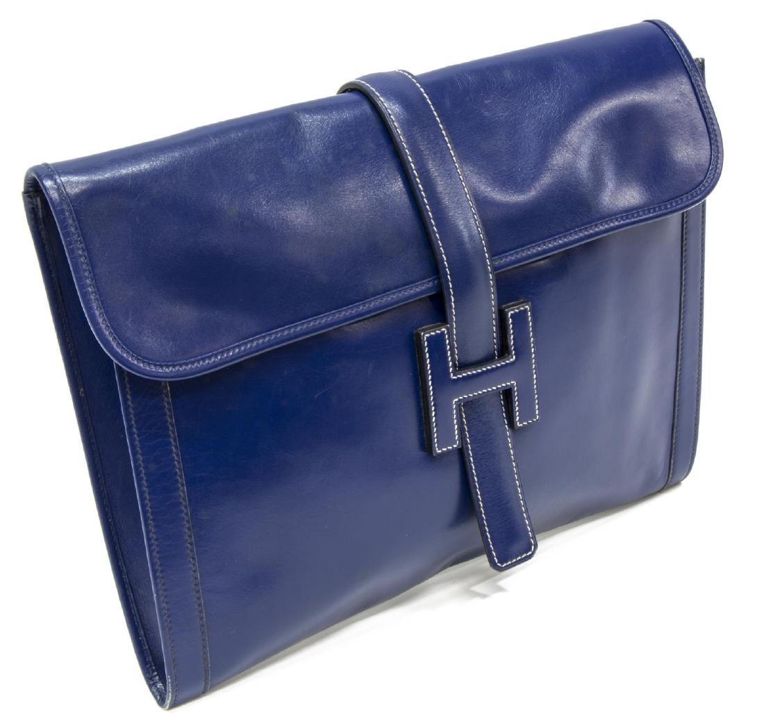 HERMES 'JIGE' ROYAL BLUE BOX LEATHER CLUTCH