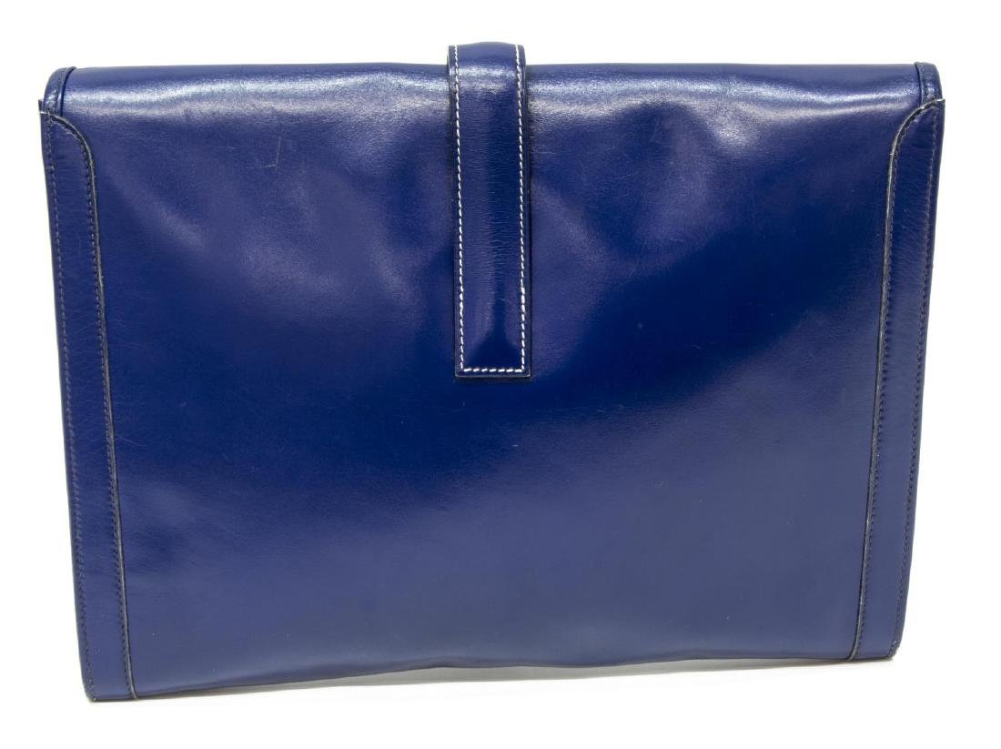 HERMES 'JIGE' ROYAL BLUE BOX LEATHER CLUTCH - 2