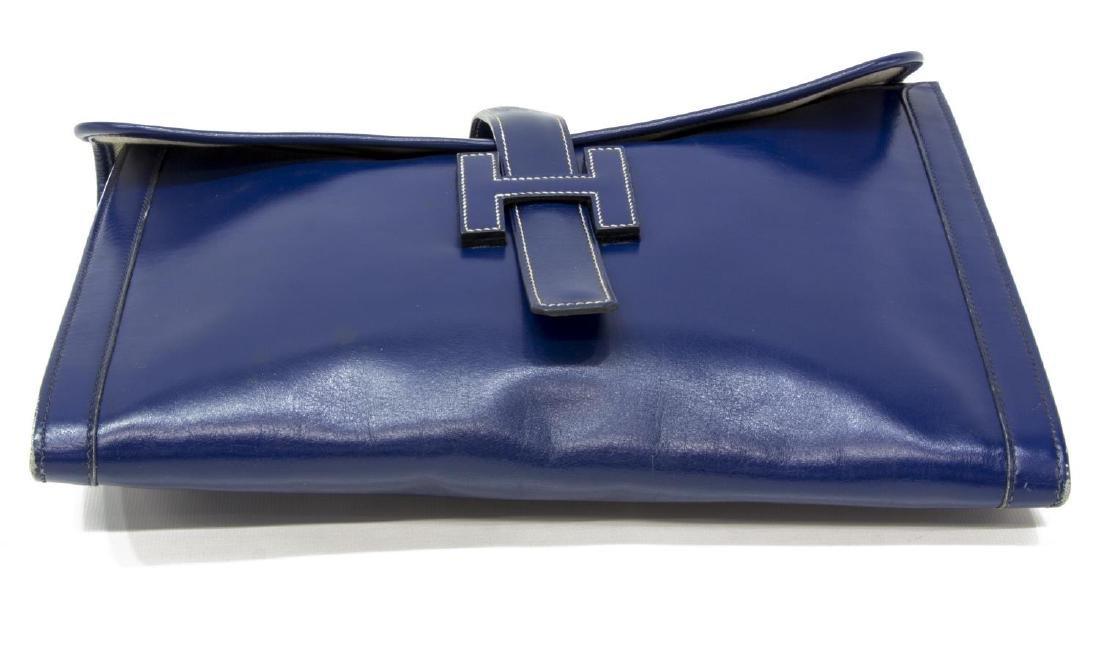 HERMES 'JIGE' ROYAL BLUE BOX LEATHER CLUTCH - 3