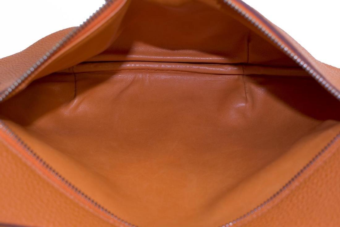 HERMES 'CACAHUETE' ORANGE LEATHER SHOUDLER BAG - 4