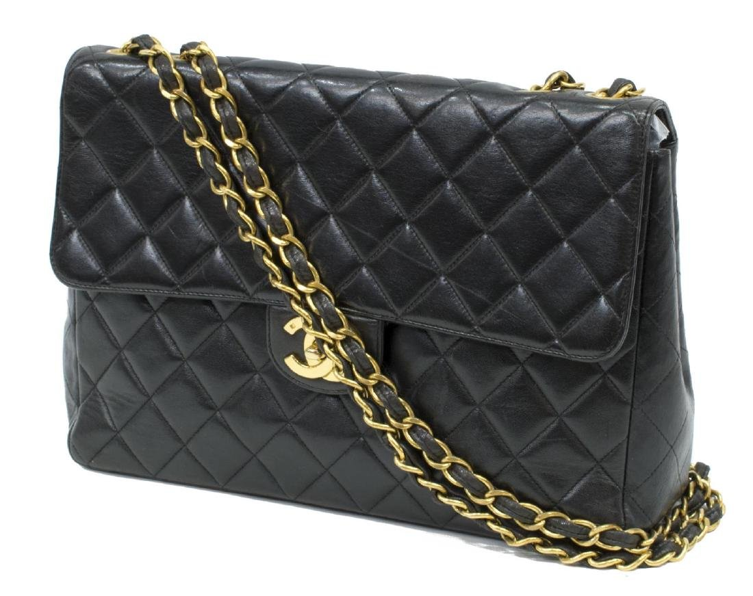 CHANEL CLASSIC BLACK QUILTED JUMBO SINGLE FLAP BAG