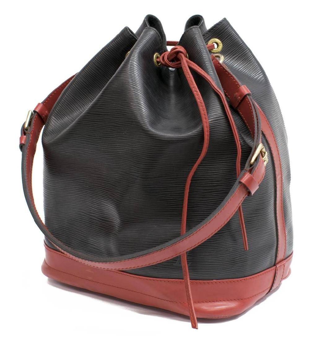 LOUIS VUITTON 'NOE' BLACK & RED EPI LEATHER BAG