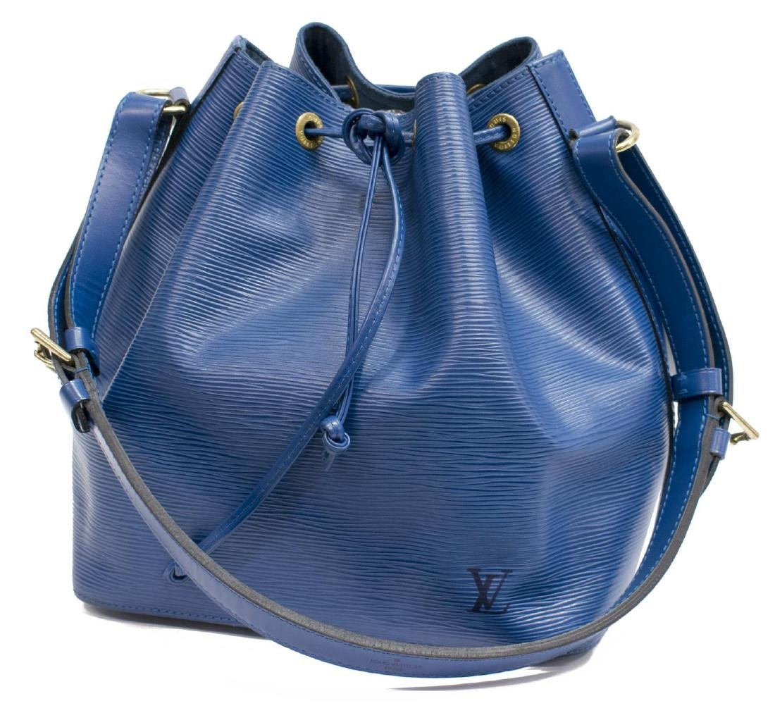 LOUIS VUITTON 'NOE' BLUE EPI LEATHER BUCKET BAG
