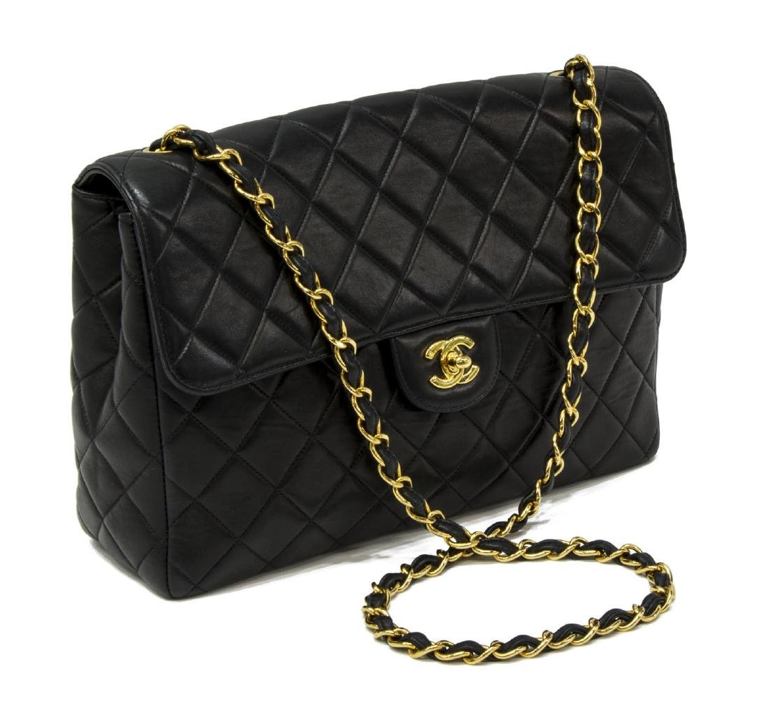 CHANEL QUILTED BLACK CLASSIC JUMBO FLAP BAG