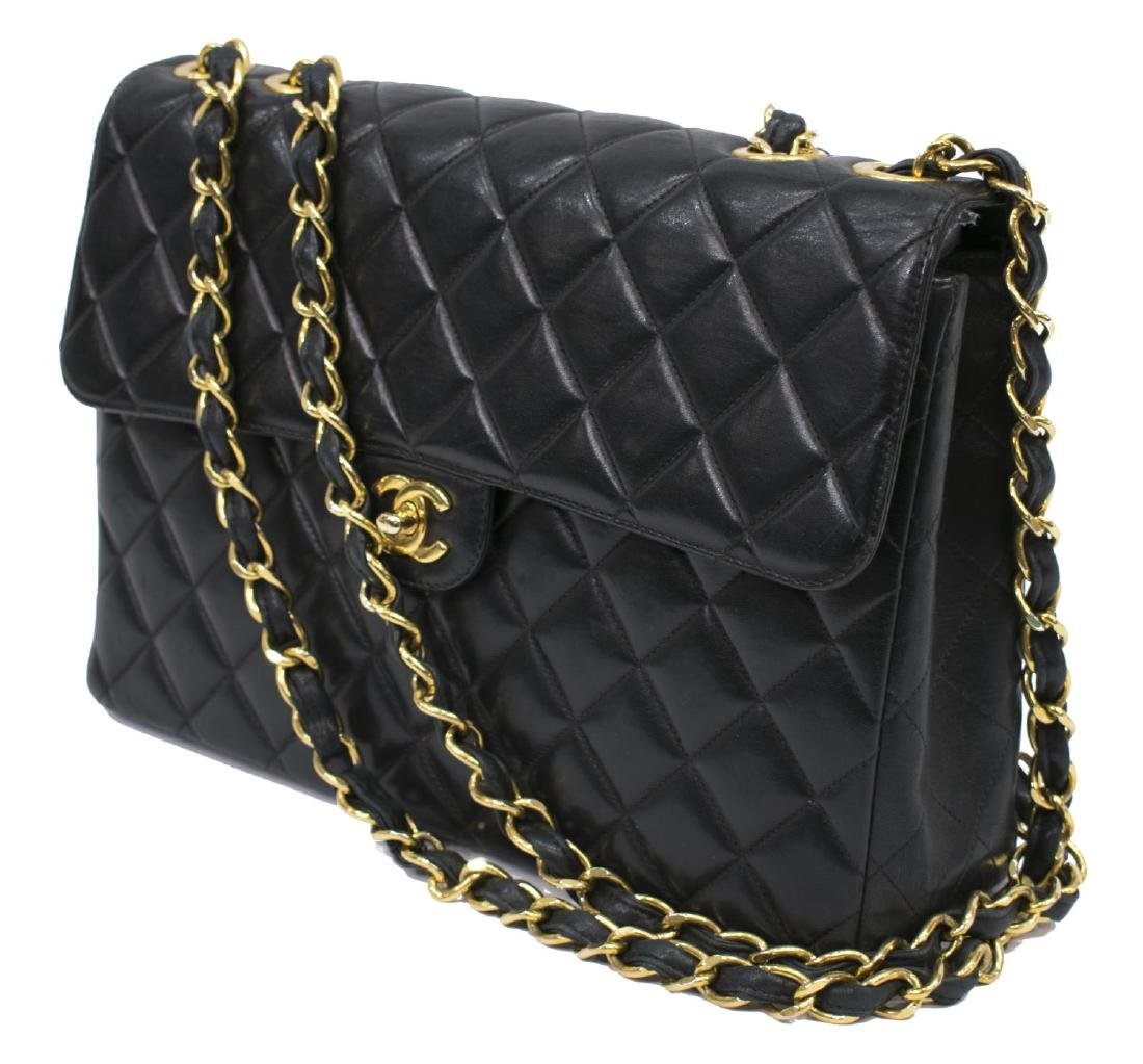 CHANEL CLASSIC BLACK LEATHER JUMBO SINGLE FLAP BAG