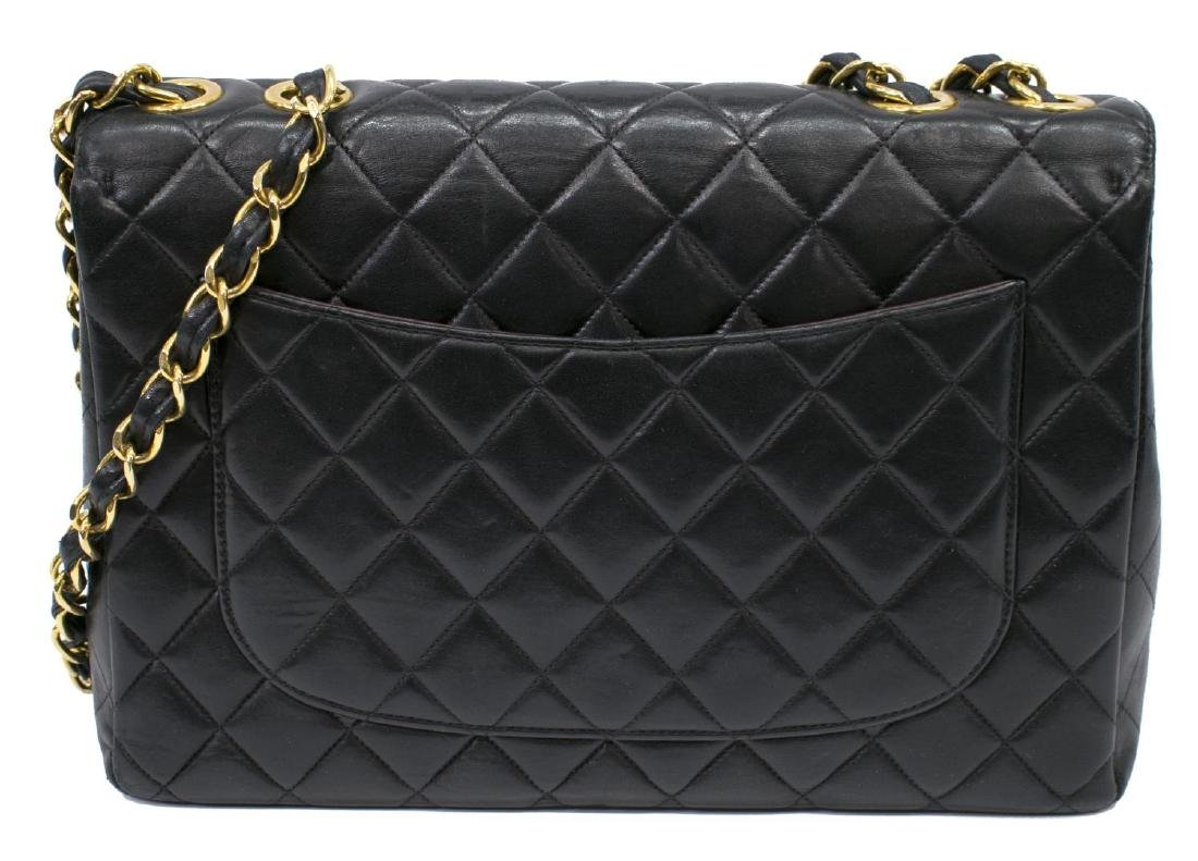 CHANEL CLASSIC BLACK LEATHER JUMBO SINGLE FLAP BAG - 2