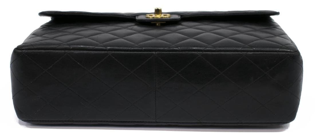 CHANEL CLASSIC BLACK LEATHER JUMBO SINGLE FLAP BAG - 3