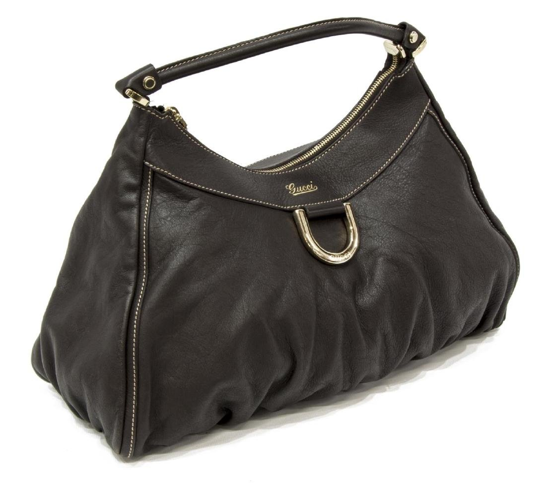 GUCCI BROWN LEATHER D-RING HOBO BAG