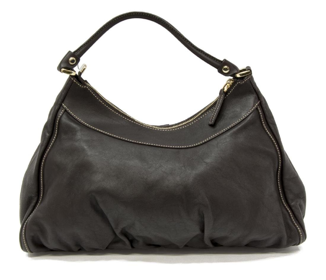 GUCCI BROWN LEATHER D-RING HOBO BAG - 2