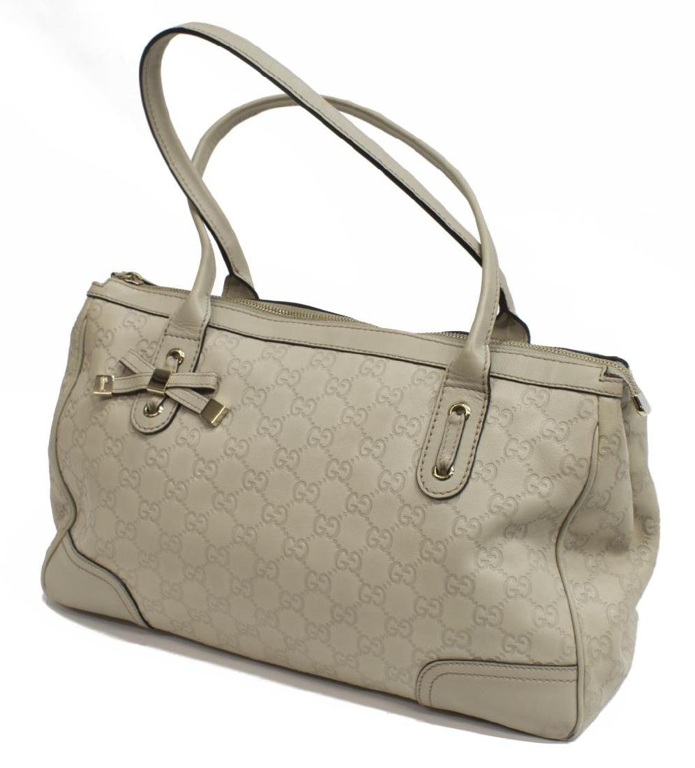 GUCCI 'PRINCY' IVORY GUCCISSIMA LEATHER TOTE BAG