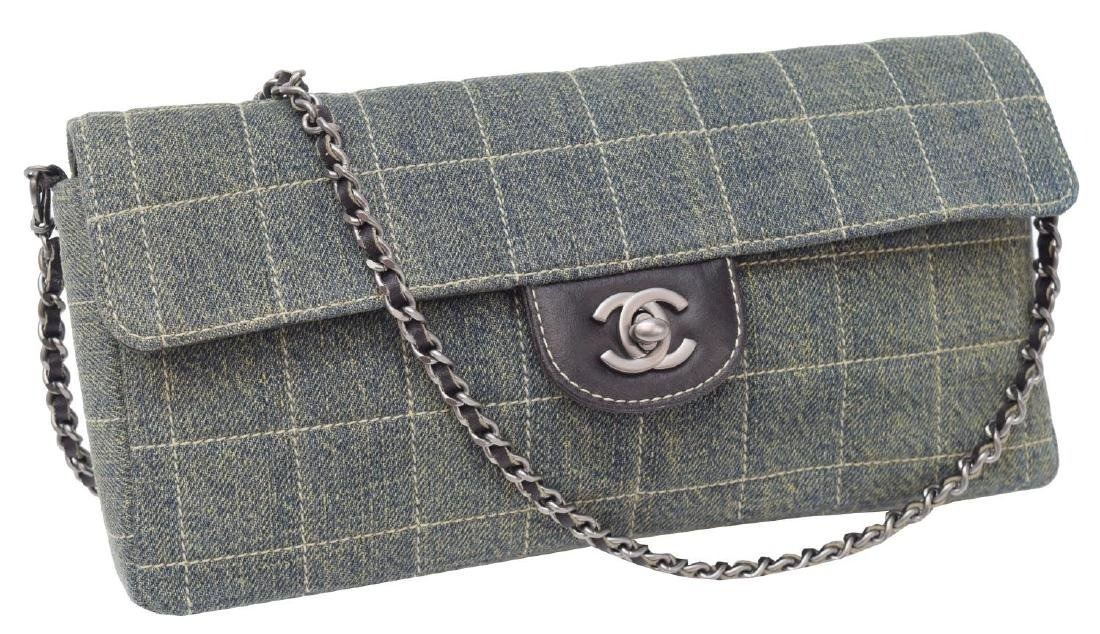CHANEL 'EAST/ WEST FLAP BAG' SQUARE QUILTED DENIM