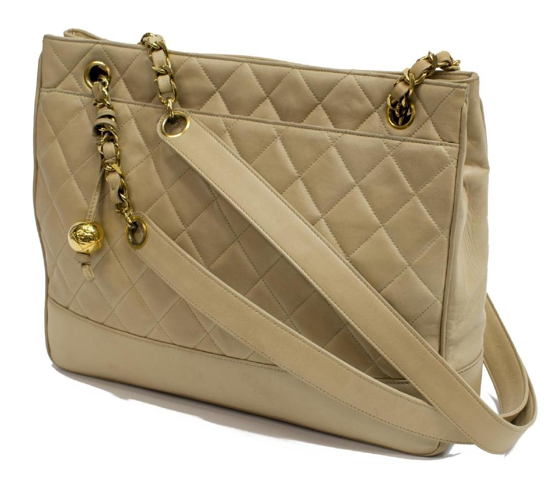 CHANEL QUILTED BEIGE LEATHER SHOPPING TOTE