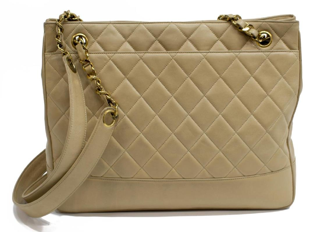CHANEL QUILTED BEIGE LEATHER SHOPPING TOTE - 2