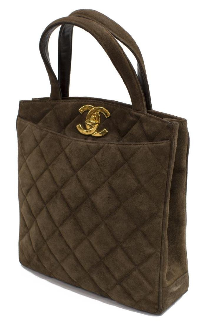 CHANEL QUILTED BROWN SUEDE TALL TOTE BAG