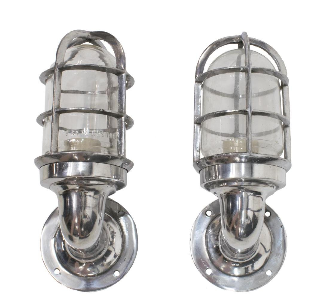 (2) INDUSTRIAL STYLE CAGED ALUMINUM WALL SCONCES