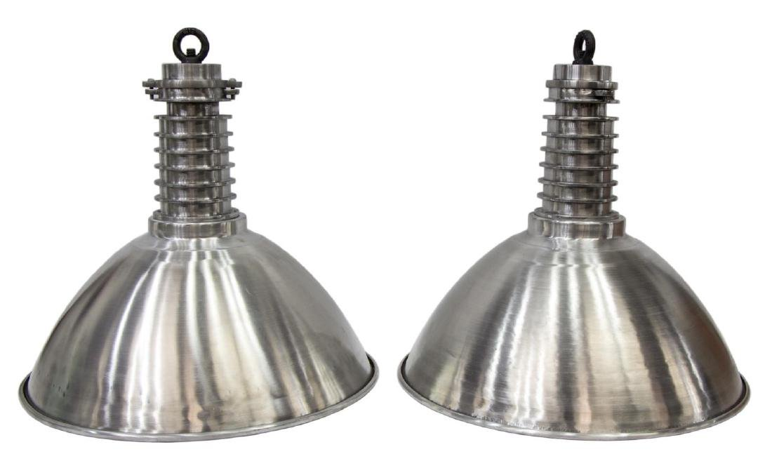(2) LARGE INDUSTRIAL STYLE ALUMINUM HANGING LIGHTS