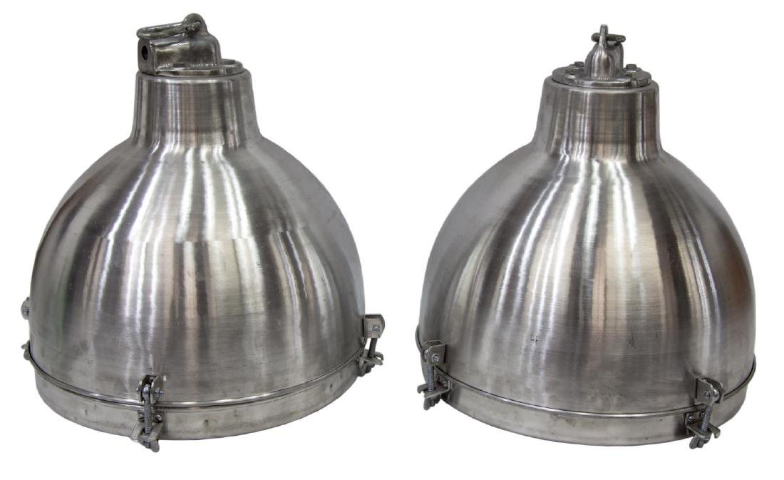 (2) INDUSTRIAL STYLE ALUMINUM DOMED PENDANT LAMPS