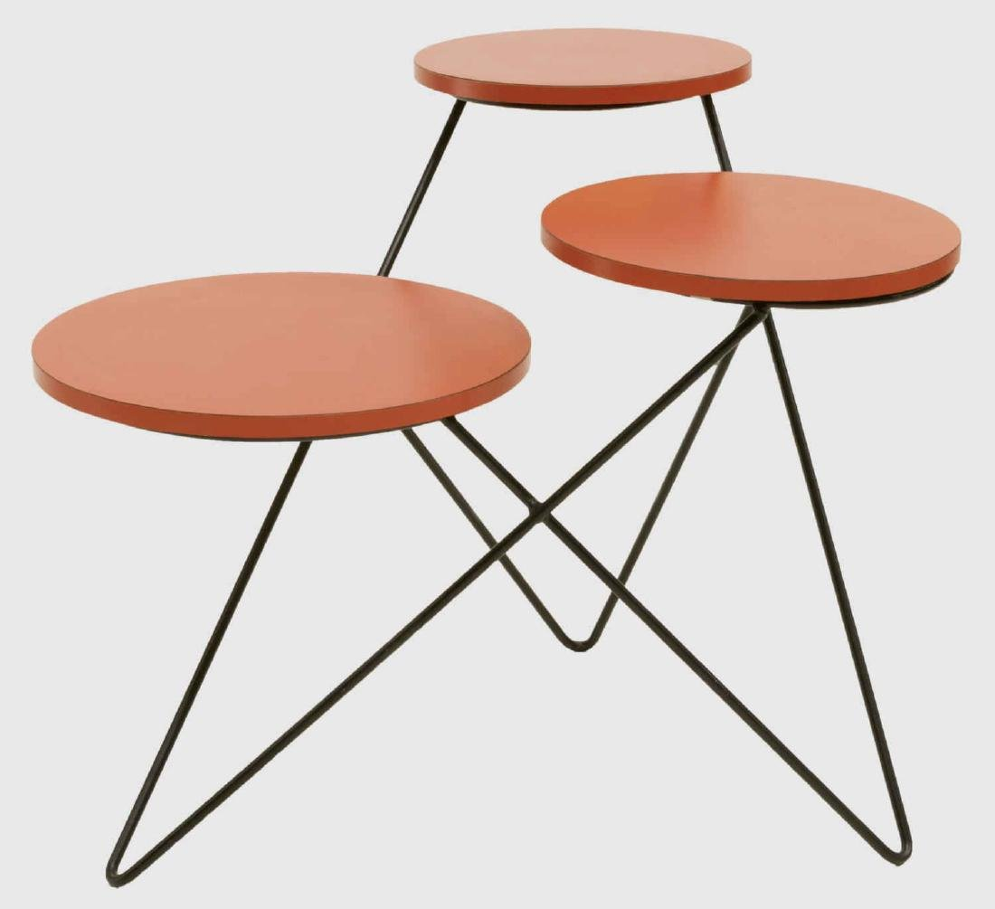 MID-CENTURY MODERN TIERED HAIRPIN LEGS SIDE TABLE