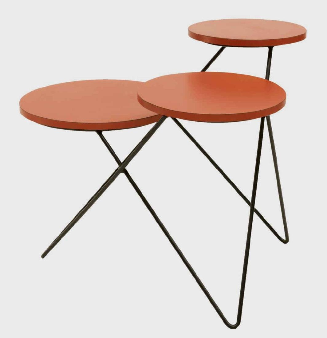 MID-CENTURY MODERN TIERED HAIRPIN LEGS SIDE TABLE - 2