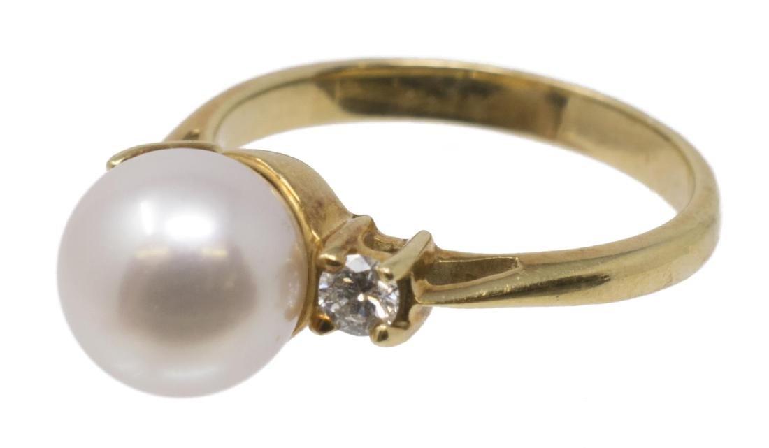 TIFFANY & CO PEARL & DIAMOND 18K YELLOW GOLD RING