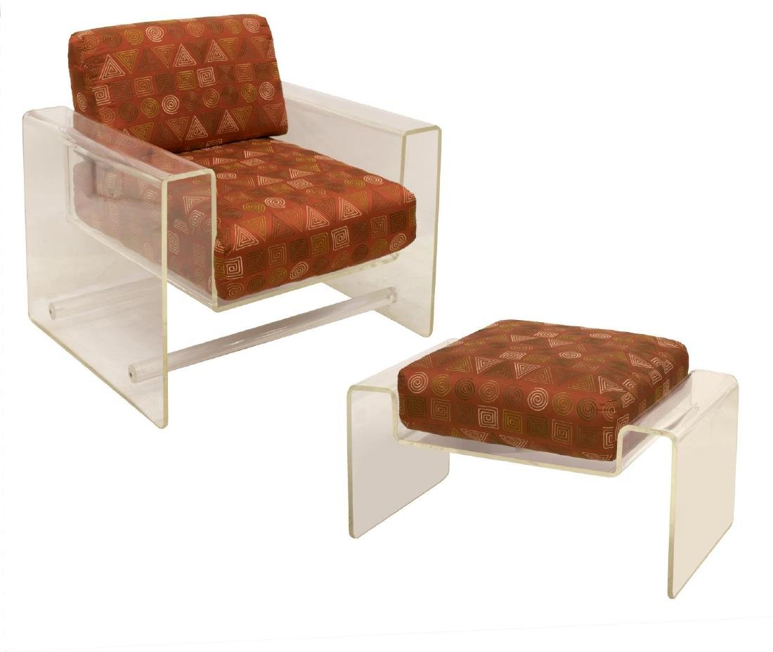 (2) MODERN ACRYLIC LOUNGE CHAIR WITH OTTOMAN