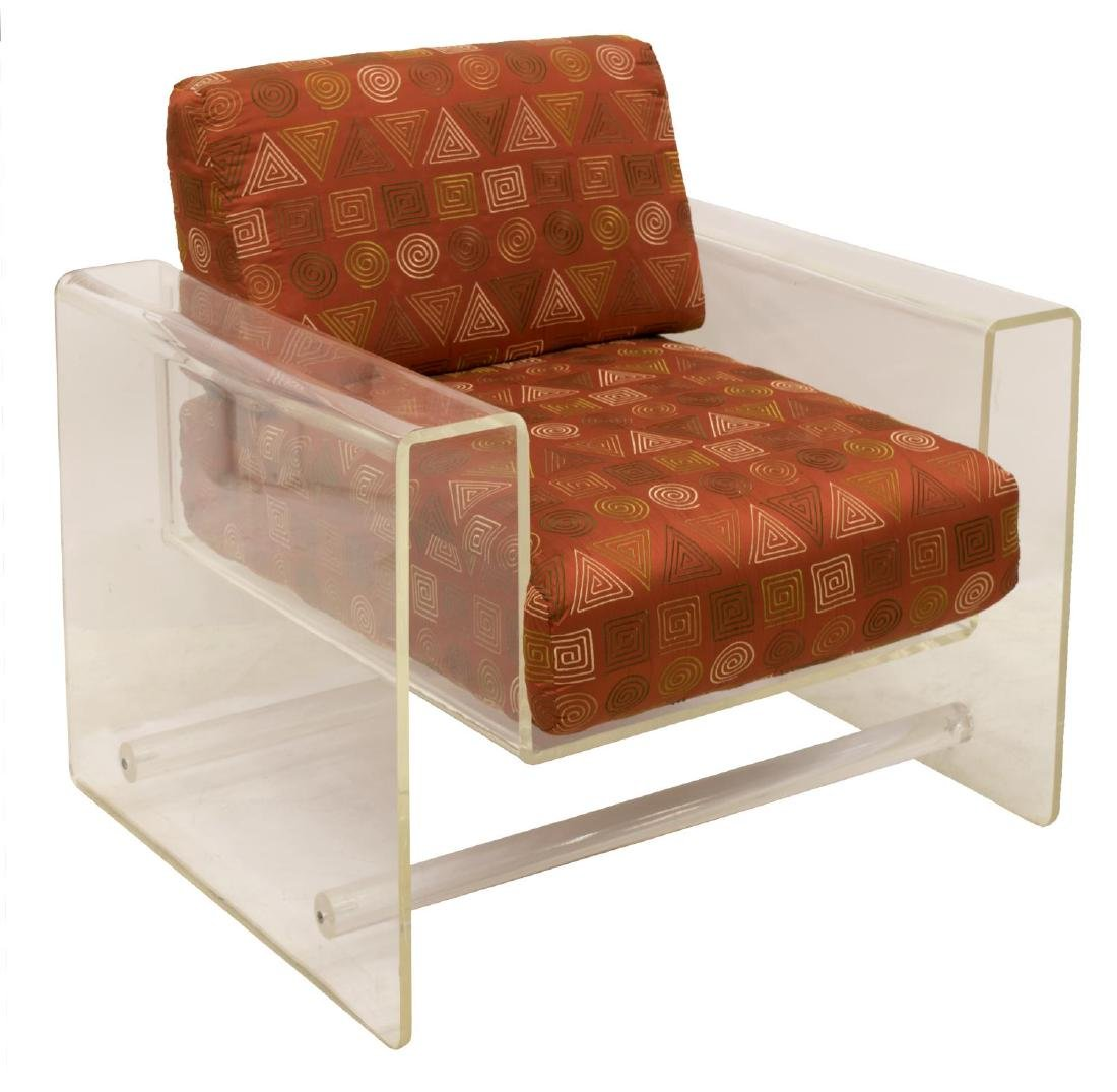 (2) MODERN ACRYLIC LOUNGE CHAIR WITH OTTOMAN - 2