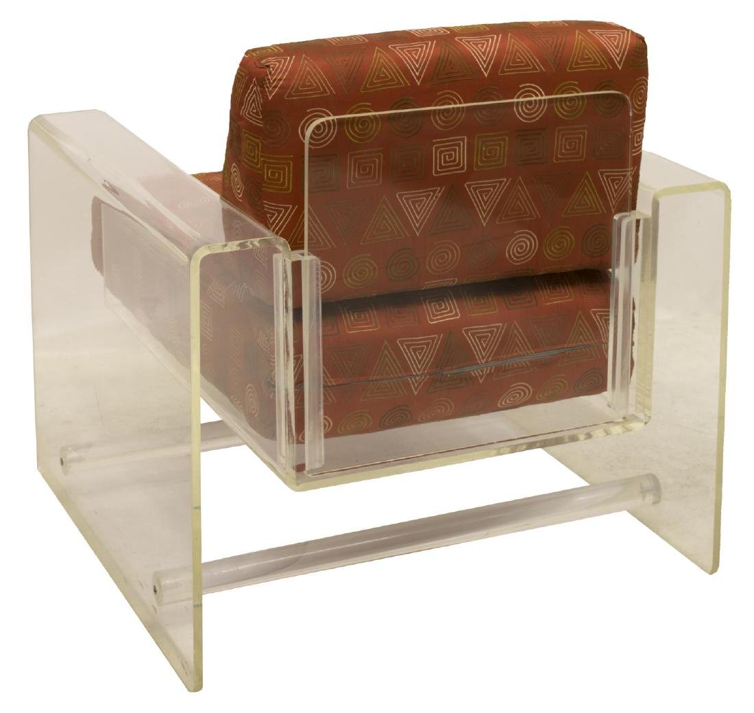 (2) MODERN ACRYLIC LOUNGE CHAIR WITH OTTOMAN - 4