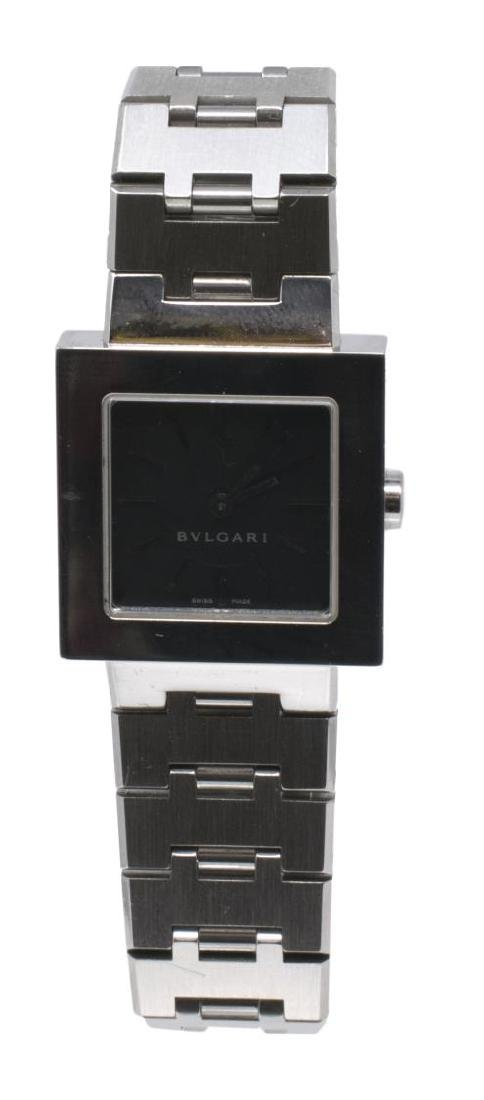 LADIES BULGARI 'QUADRATO' STAINLESS STEEL WATCH