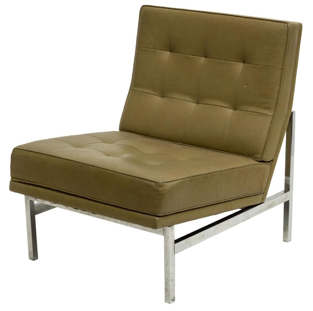 FLORENCE KNOLL PARALLEL BAR LEATHER LOUNGE CHAIR