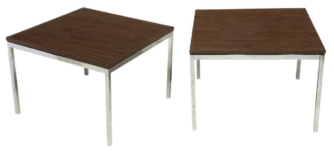 (PAIR) FLORENCE KNOLL CHROME FRAMED SIDE TABLES