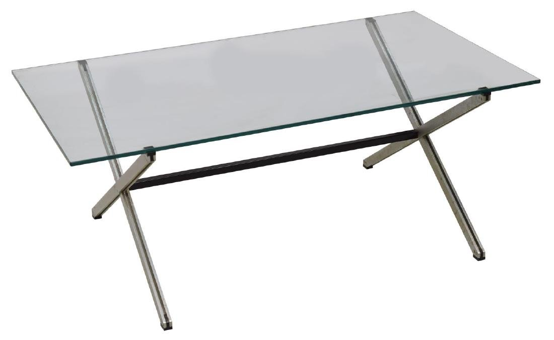FLORENCE KNOLL 'PARALLEL BAR' GLASS COFFEE TABLE