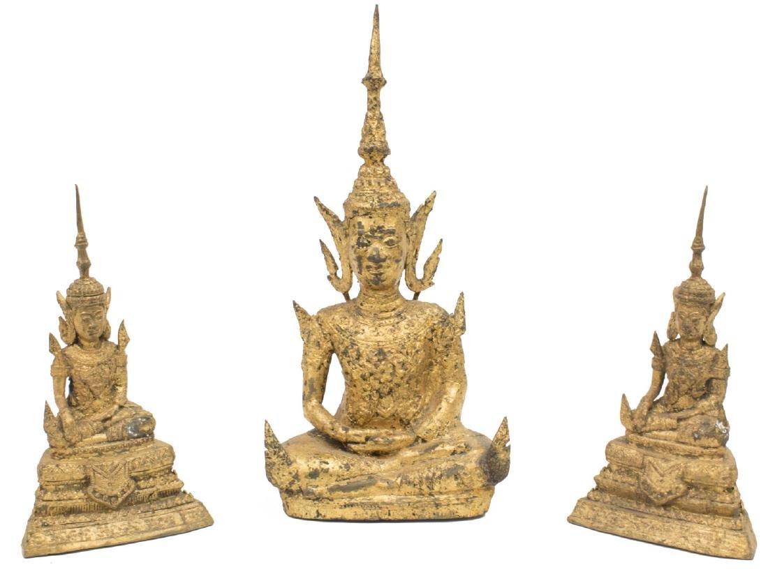 (3) THAI GILT BRONZE SEATED FIGURES OF BUDDHA