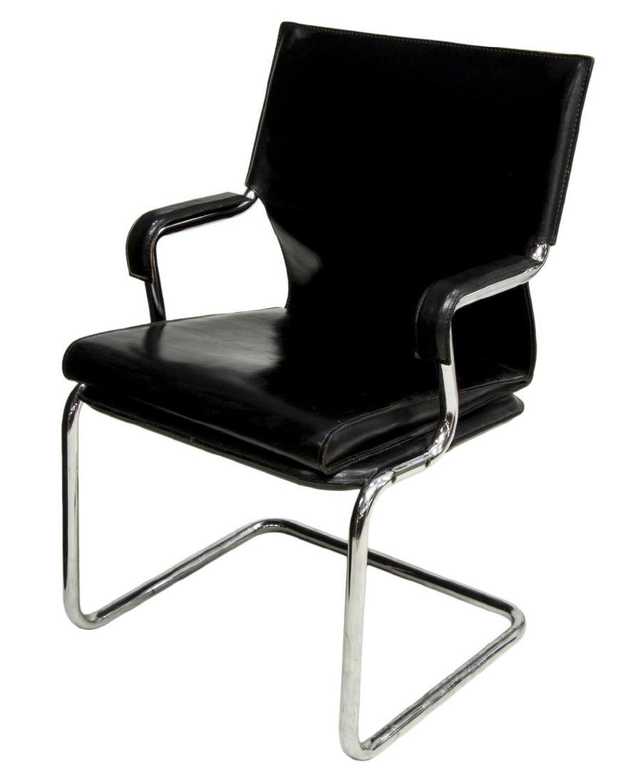 MID-CENTURY MODERN CANTILEVER LEATHER ARMCHAIR
