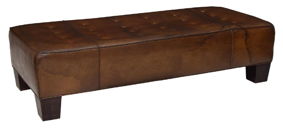 BROWN LEATHER BUTTON TOP BENCH, WOOD FEET