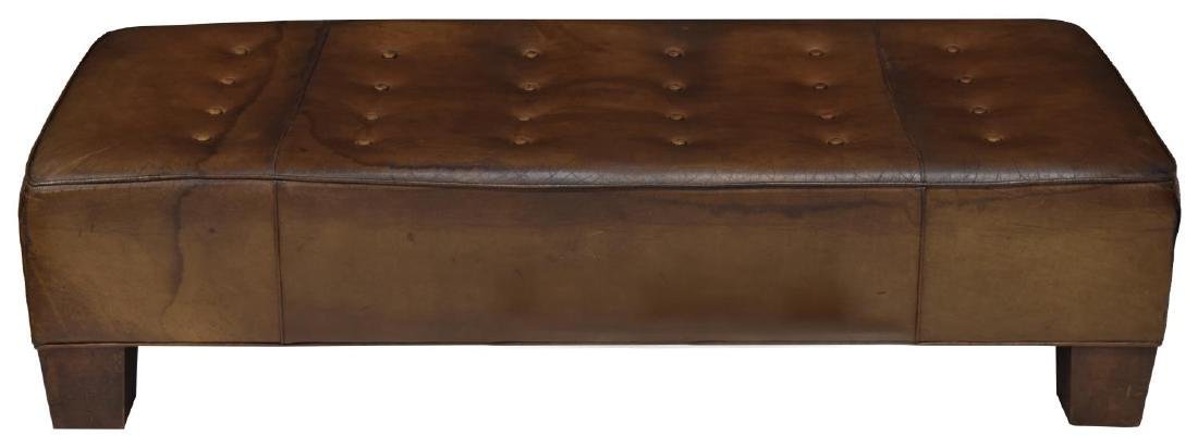 BROWN LEATHER BUTTON TOP BENCH, WOOD FEET - 2