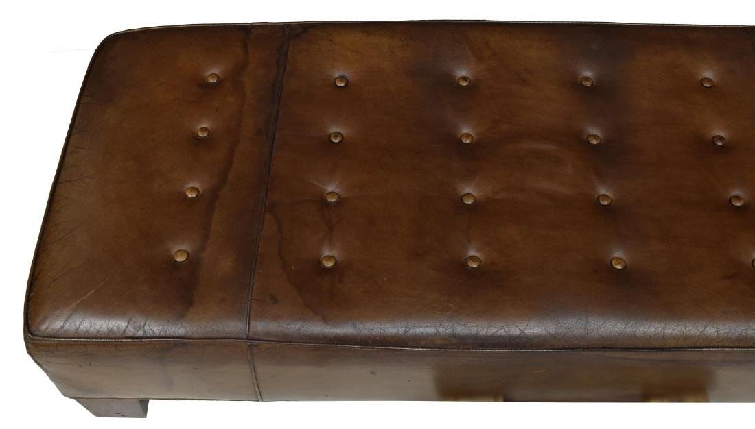 BROWN LEATHER BUTTON TOP BENCH, WOOD FEET - 3