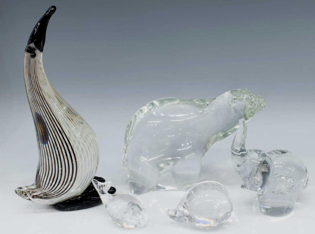 (5) ART GLASS ANIMALS, KOSTA BODA, ALFREDO BARBINI