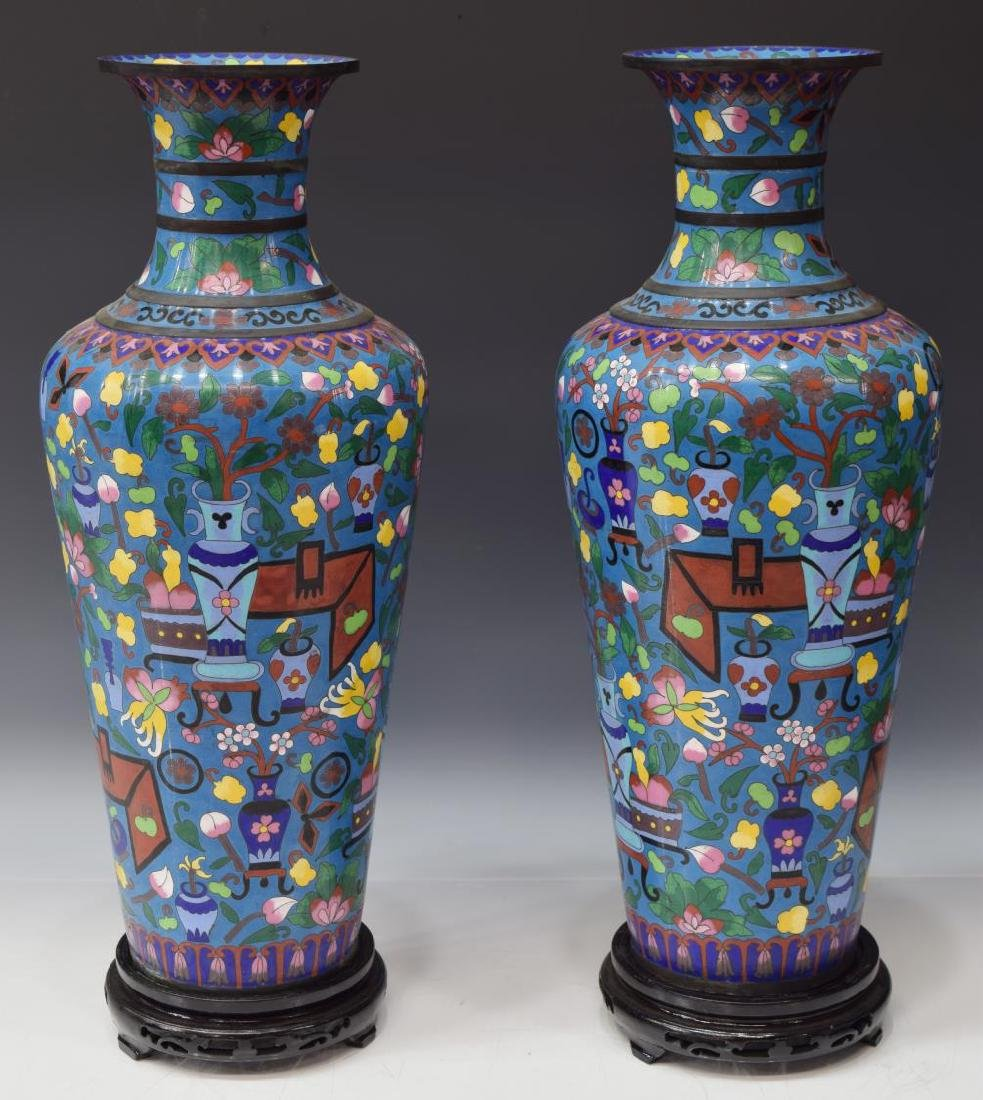 (2) CHINESE CLOISONNE ENAMEL VASES ON WOOD STANDS