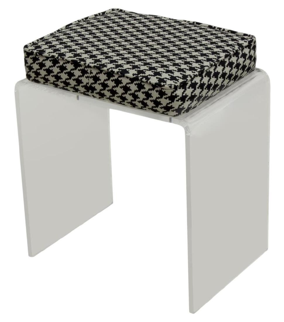 MODERN LUCITE WATERFALL BENCH W/ HOUNDSTOOTH SEAT