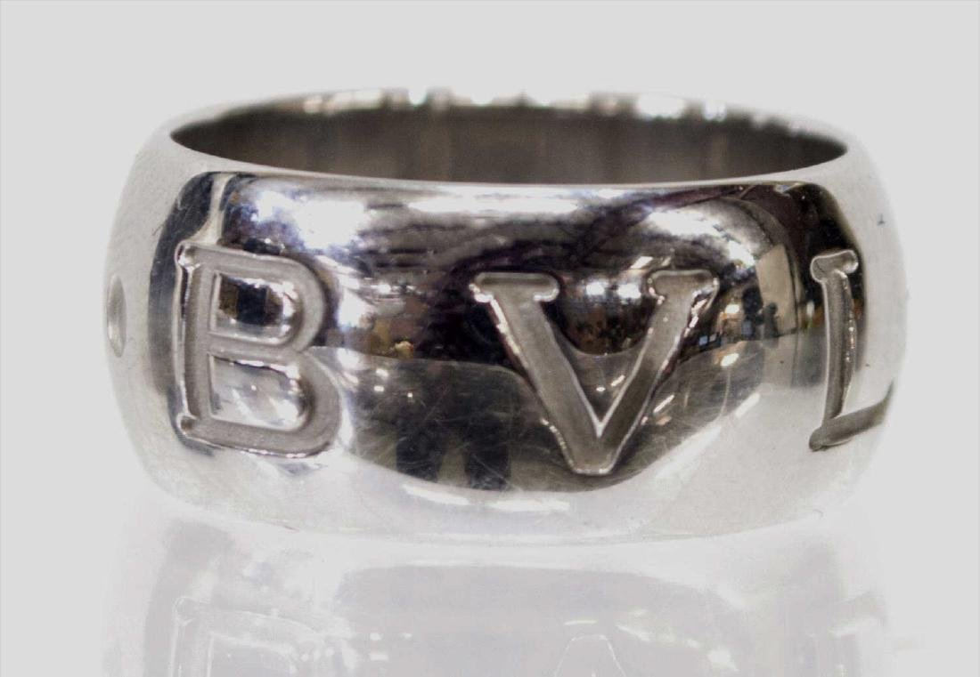 BULGARI 'MONOLOGO' 18KT WHITE GOLD RING