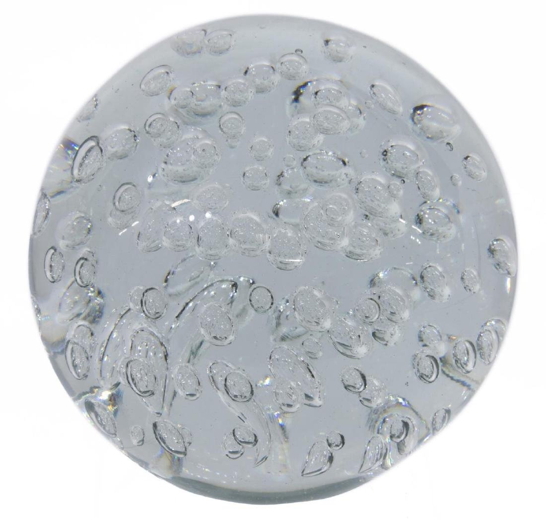 LARGE ART GLASS SUSPENDED AIR BUBBLES PAPERWEIGHT