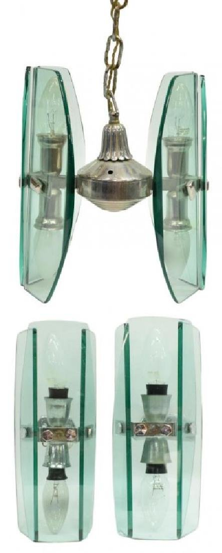 (3) MURANO GLASS CHANDELIER & WALL SCONCES