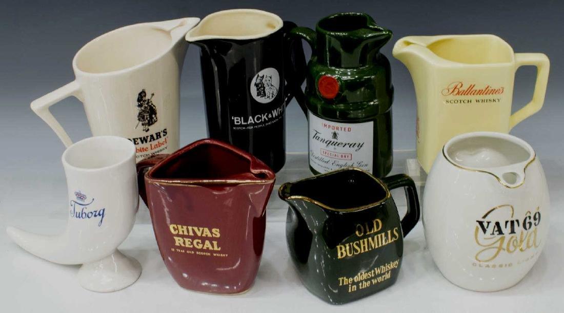 (8) BARWARE PROMOTIONAL CERAMIC DRINKS PITCHERS