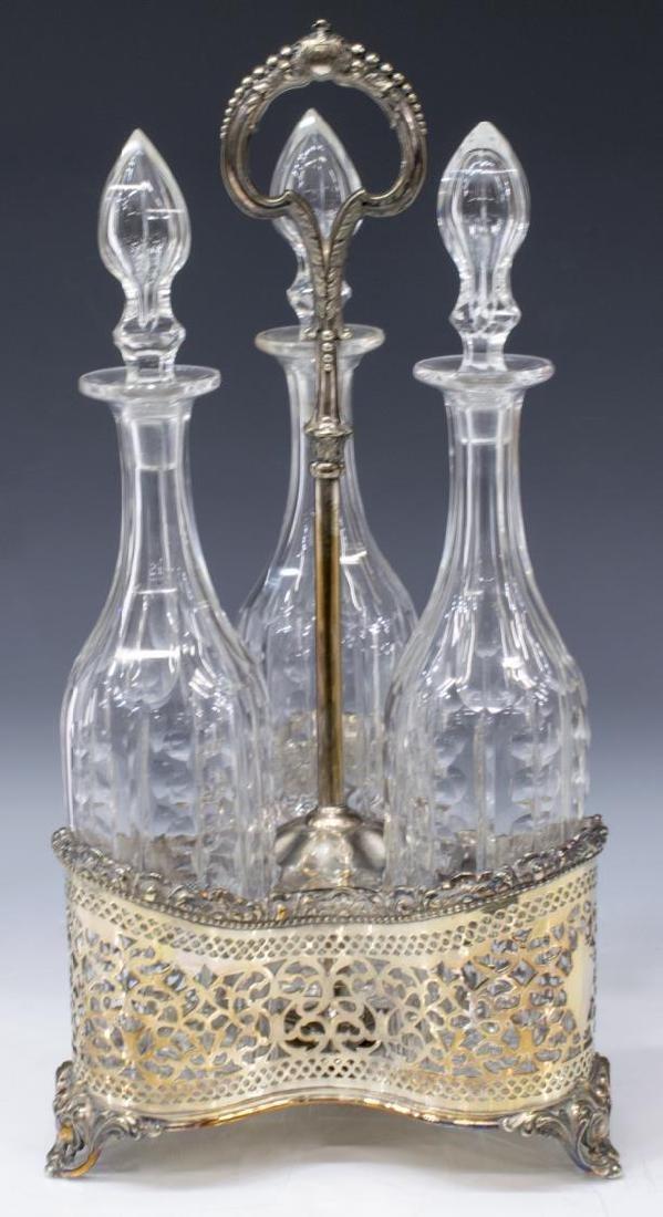ORNATE SILVERPLATE & CUT GLASS CADDY DECANTER SET