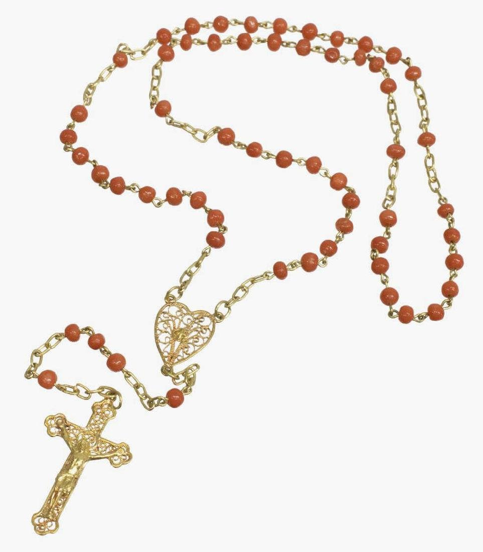 ESTATE RED CORAL & 22KT GOLD CROSS ROSARY