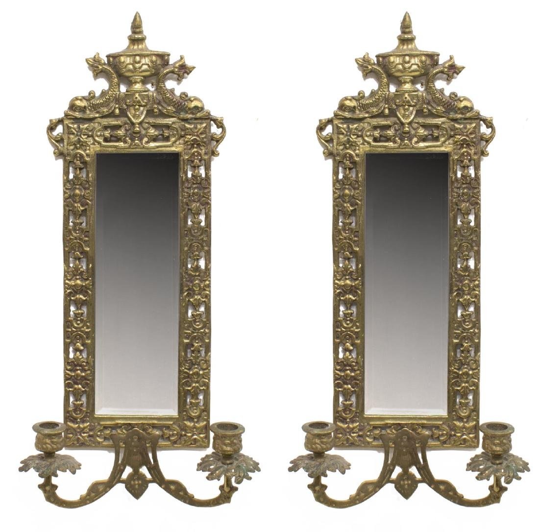 (2) NEOCLASSICAL STYLE BRONZE MIRROR CANDLE SCONCE